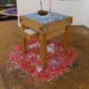 Sang bleu d'Auvergne, 1989, billot, fil à couper le beurre, une tête, confettis;