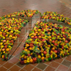 Come to this world, 1999 Artificial Fruit, mirrors, styrofoam comprised in 4 parts 43.2 cm x 365.8 cm x 365.8 cm
